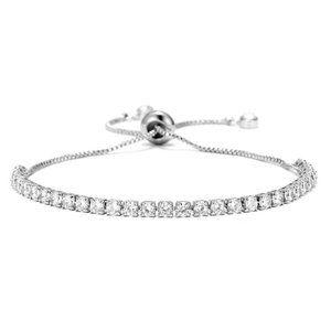 Tennis Chain Bracelet Zirconia Silver Pullable